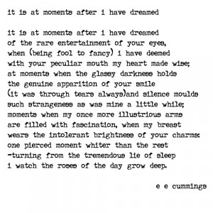 It is at moments after I have dreamed - e e cummings