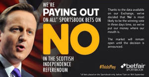 No, Betfair has not just called the Scottish Referendum