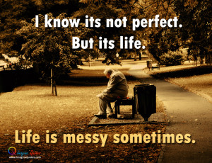 ... man is sitting on the bench in the garden, Life quote with alone man