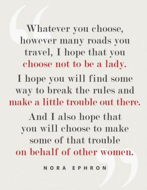 Aunt Peaches quotes Nora Ephron