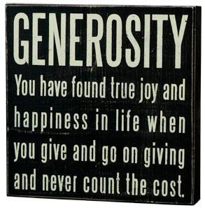 Tuesday Treasury: Generosity Defined