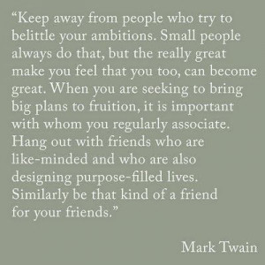 mark twain quote, Stay away from small people