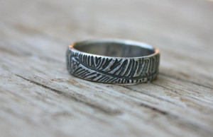 bohemian feather wedding band ring . recycled silver shakespeare quote ...