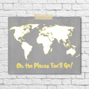 Gray Yellow Nursery Dr. Seuss Quote Oh The Places You'll GoPrint Art ...