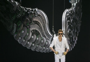 Canadian singer Justin Bieber performs on stage during the