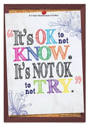 its ok to not know children's Quote