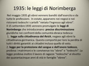 1935: le leggi di Norimberga Nel maggio 1935 gli ebrei vennero banditi ...