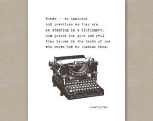 Writer Quote Art Print, inspirational typewriter typography, Nathaniel ...