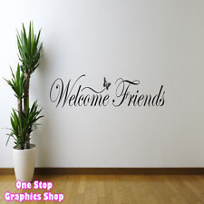 WELCOME FRIENDS WALL ART QUOTE STICKER 60CM - KITCHEN LOUNGE BEDROOM ...
