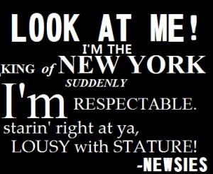 Newsies , Newsies quotes, king of new york lyrics, Disney, King of New ...