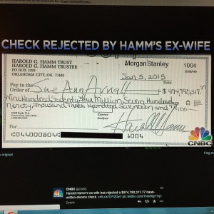 Harold Hamm Divorce Check