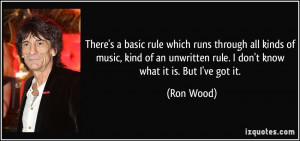 There's a basic rule which runs through all kinds of music, kind of an ...