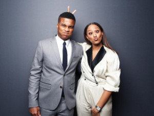 Tia Mowry and Cory Hardrict pose for a portrait at the 2015 ESSENCE ...