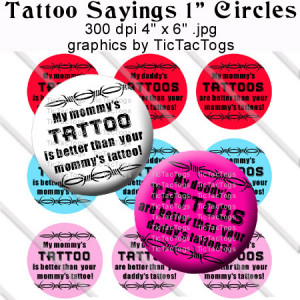 Tattoo Sayings Sayings Bottle Cap Images Digital Collage 1 Inch