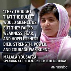 Malala Yousafzai quote.