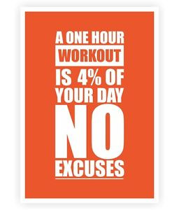 Details about A One Hour Workout Gym Motivating Quotes Poster