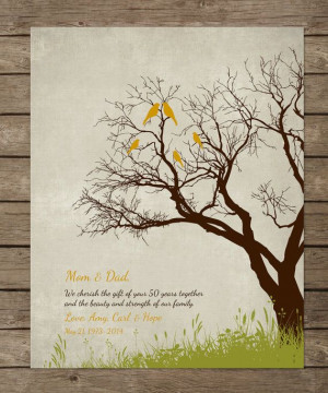parents, 50th GOLDEN Anniversary print, Anniversary gifr for parents ...