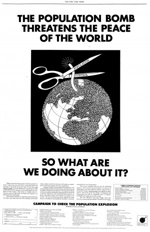 This full-page newspaper ad from a prominent population control group ...