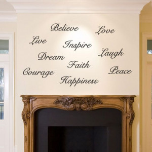 Large Dream Believe Inspire wall sticker quote words happiness courage ...