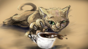 wallpapers artistic cat cup coffee artwork hd wallpapers wallpaper ...