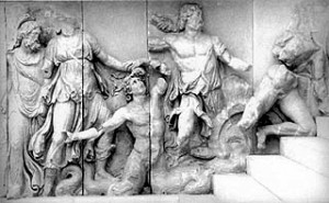 Slabs of colossal marble relief from podium of Altar of Zeus at ...