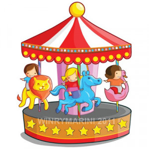 cute Merry go round (carousel) with children riding lion, horse and ...