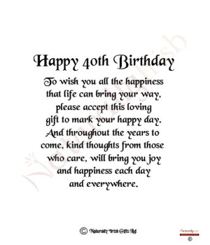 Funny Happy 40th Birthday Sayings