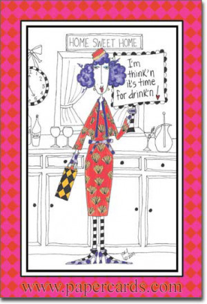 Time For Drinking (1 card/1 envelope) Dolly Mama Funny Birthday Card ...