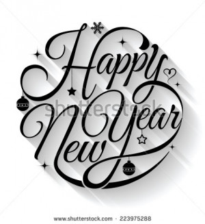 Happy New Year, lettering Greeting Card design circle text frame on ...