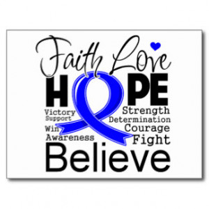 Colon Cancer Typographic Faith Love Hope Post Card