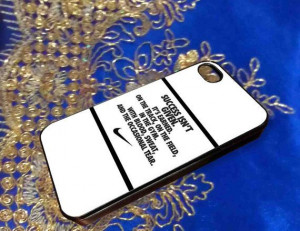 nike quote with logo for iPhone 4/4s iPhone by akubolomundes, $6.50