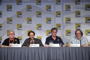 Mike Anderson, Matt Selman, Al Jean and Matt Groening talks to fans ...