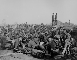 Soldiers in the trenches before battle, Petersburg, Va., 1865. (Though ...