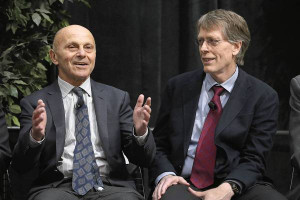Eugene Fama left and Lars Peter Hansen of the University of Chicago
