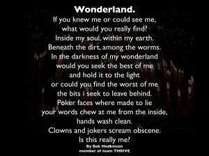 "Wonderland. Depression. Dream. Mania"" Poetry of Bek Hodkinson"