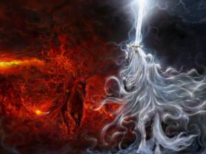 Fantasy - Battle Good Vs Evil Angel Demons Horse Sword Lightning Flame ...