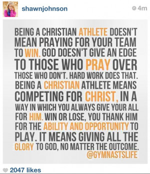Quote shared by Olympic Gymnast Shawn Johnson