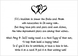Bridal Shower Insert Poem Card