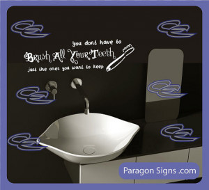 Brush Your Teeth - Wall Quotes and sayings - vinyl graphic word decals ...