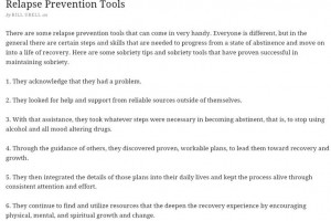 Relapse prevention tools