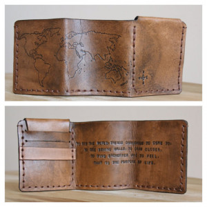 Walter Mitty Life Motto World Map Leather Wallet - Compass Rose ...