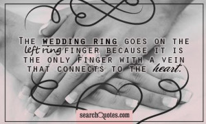 The wedding ring goes on the left ring finger because it is the only ...