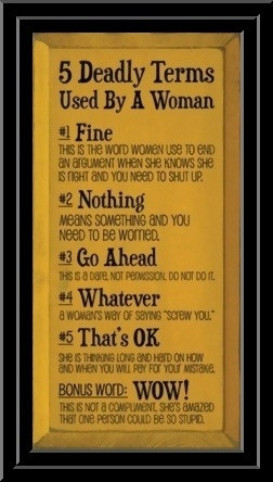 deadly women words Here's your sign