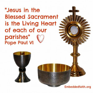 Jesus in the blessed Sacrament is the living heart of each of our ...
