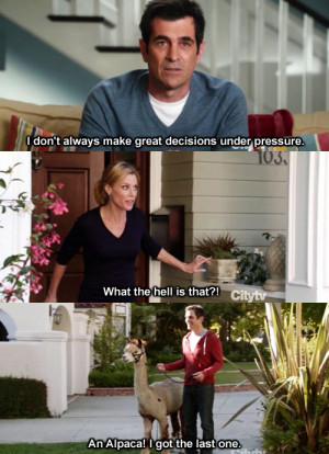 alpaca, claire, modern family, phil