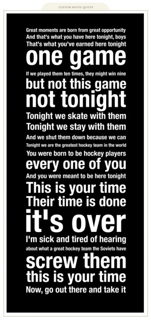Miracle on Ice and the quotes from Herb Brooks (like this one) can be ...