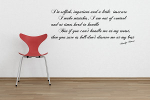 Marilyn Monroe 'I'm Selfish...' Wall Quote Stickers by parkins ...