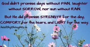 God didn't promise days without PAIN, laughter without SORROW, nor ...