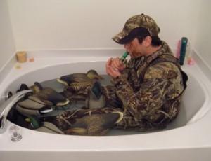 duck hunting bathtub