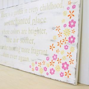 Handpainted Flower Garden Quote Sign. Children Nursery Room. Vintage ...